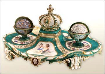 Sevres Porcelain Inkstand on show at the Wallace Collection, London