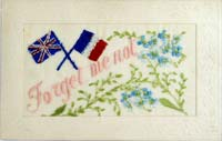 World War 1 post card featuring forget-me-nots